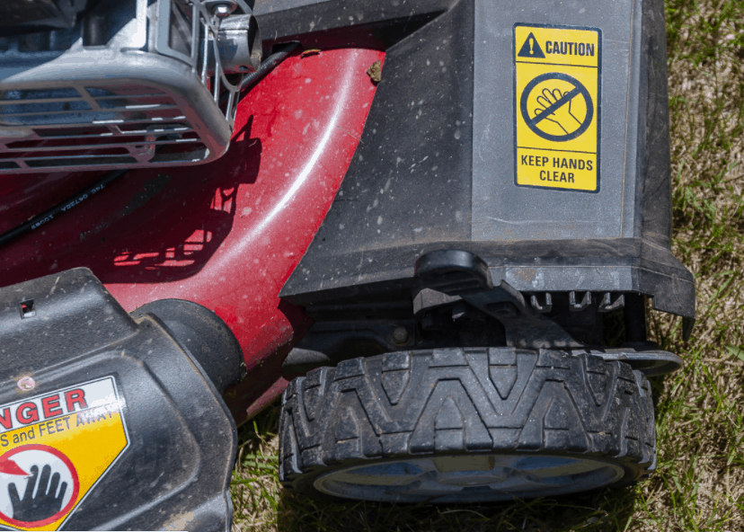 Industrial Labels need to sustain the environment to which it is exposed to. Industrial label on a lawn mower.