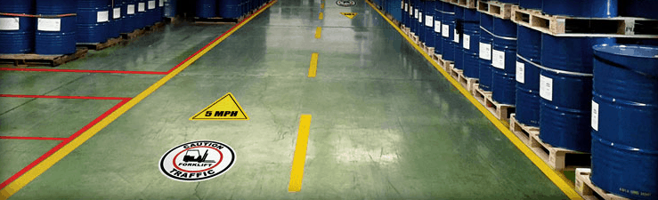 Mandatory Compliance on Industrial shop floor help prevent accidents and save lives. Industrial label for fork lift vehicle safety.